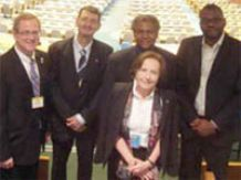 Advocating for IYL2015 at UN headquarters<br/>earlier this year: Ana María Cetto (front);<br/>Philip Stahl, John Dudley, Anthony Johnson,<br/>Yanne Chembo (back row from left).