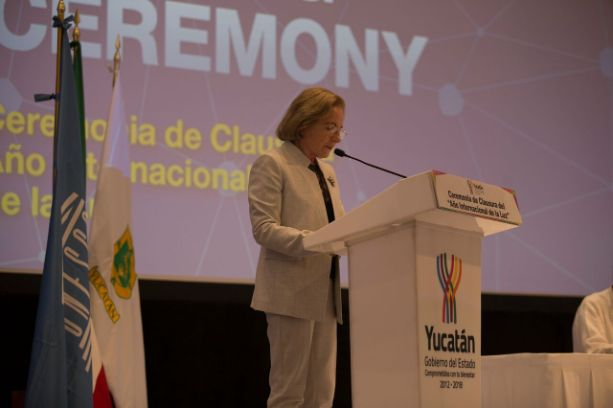 Ana María Cetto during her opening speech.