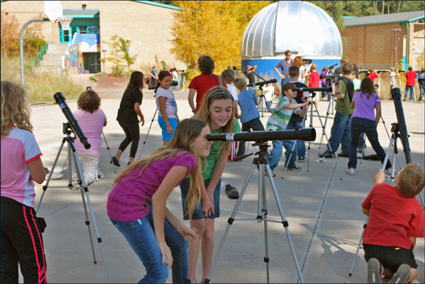 School children use the Galileoscope in Flagstaff, Arizona. Photo courtesy of S. Pompea, NOAO